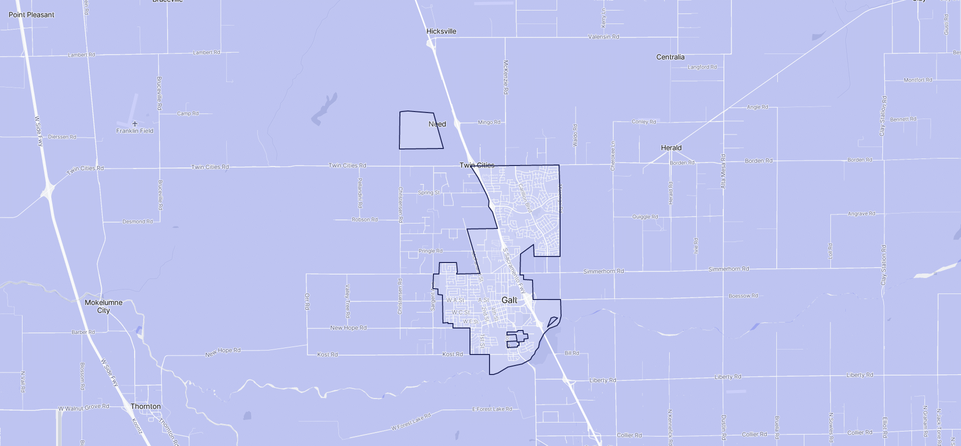 Image of Galt boundaries on a map.