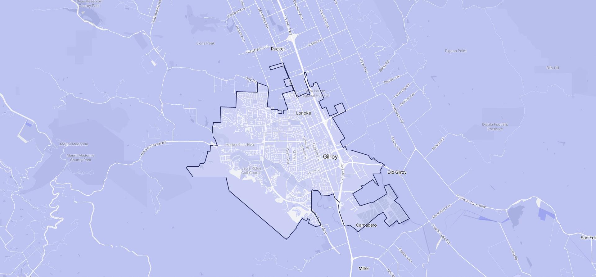Image of Gilroy boundaries on a map.