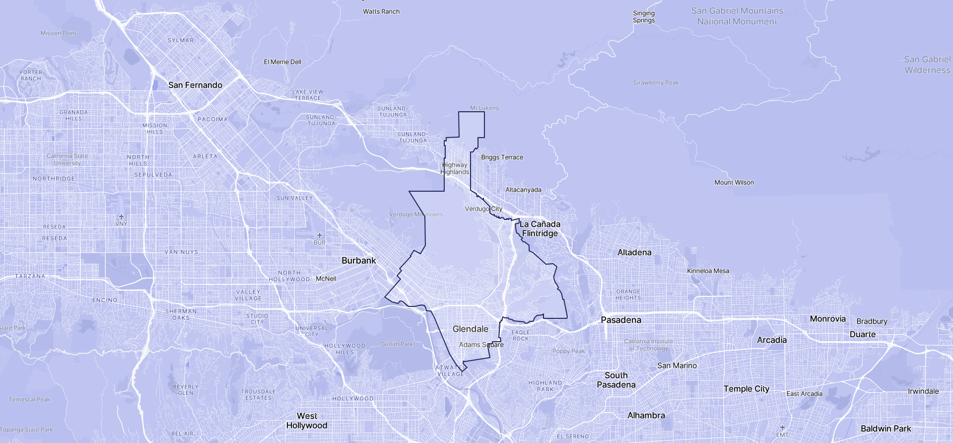 Image of Glendale boundaries on a map.