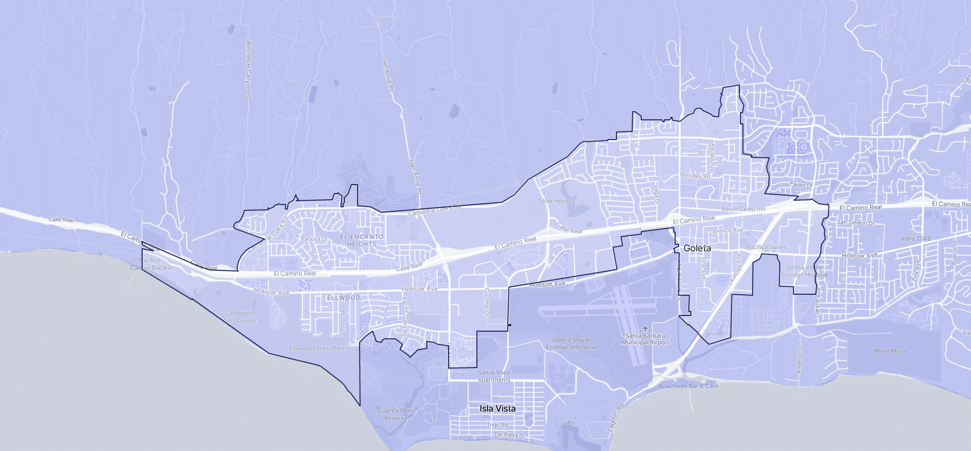 Image of Goleta boundaries on a map.