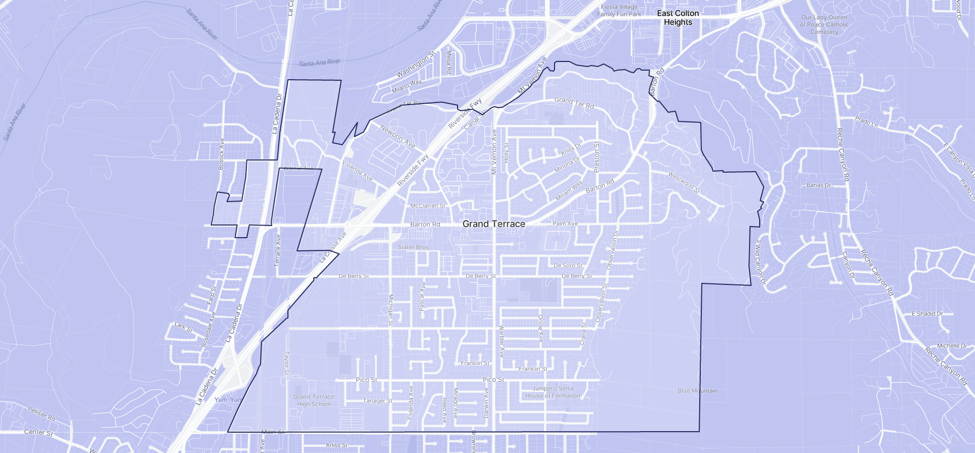 Image of Grand Terrace boundaries on a map.