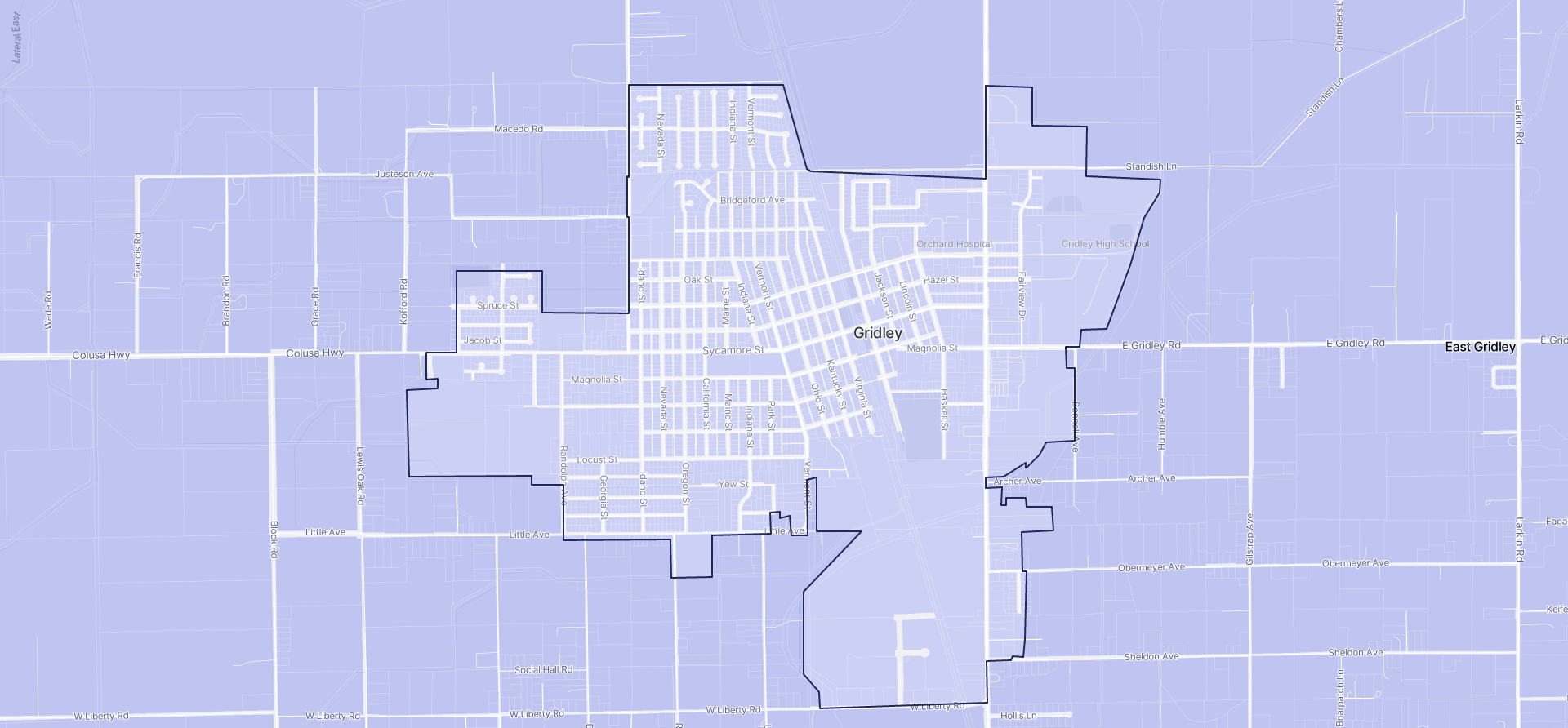 Image of Gridley boundaries on a map.