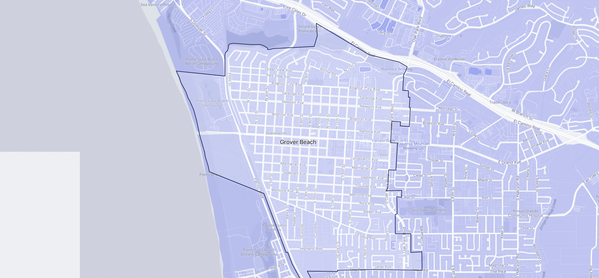 Image of Grover Beach boundaries on a map.