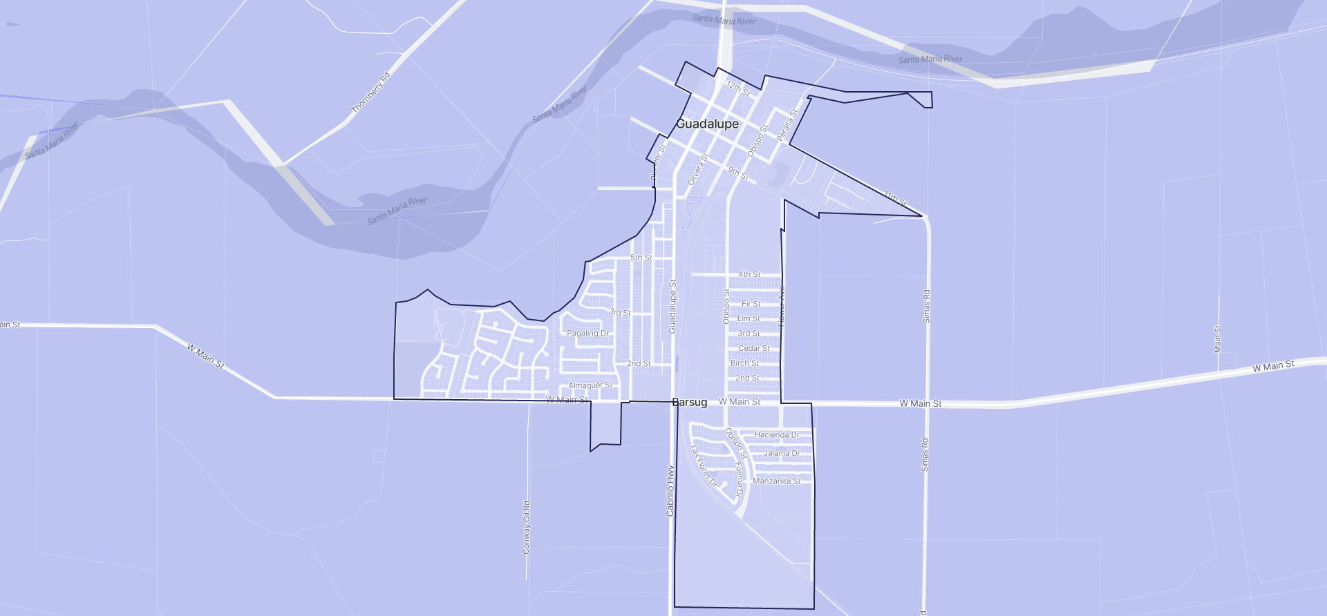 Image of Guadalupe boundaries on a map.