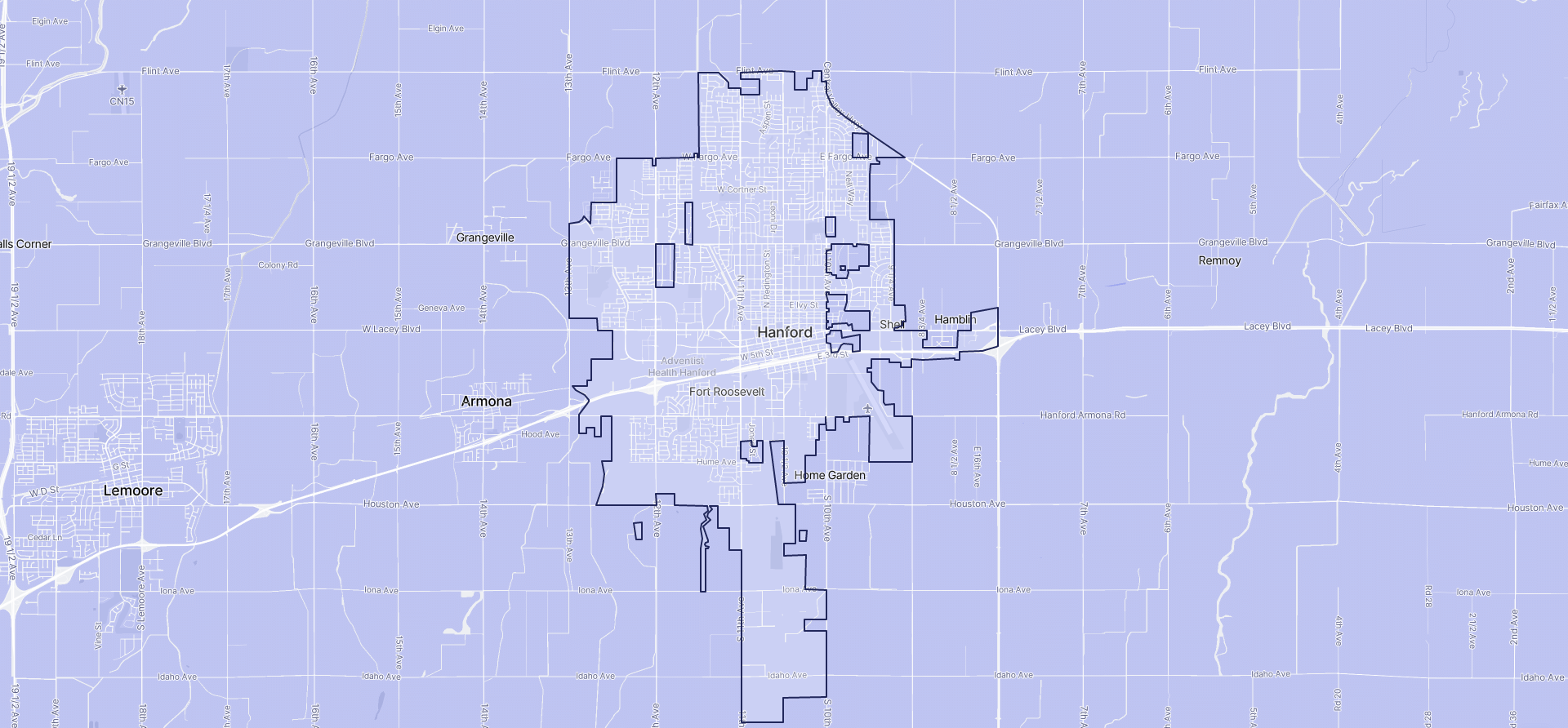 Image of Hanford boundaries on a map.