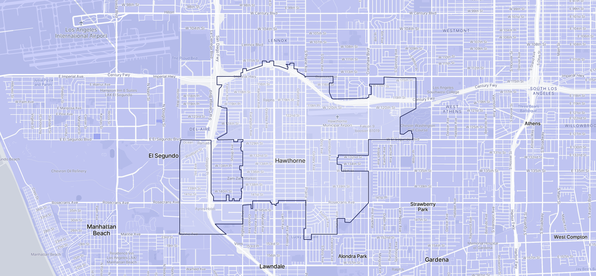 Image of Hawthorne boundaries on a map.