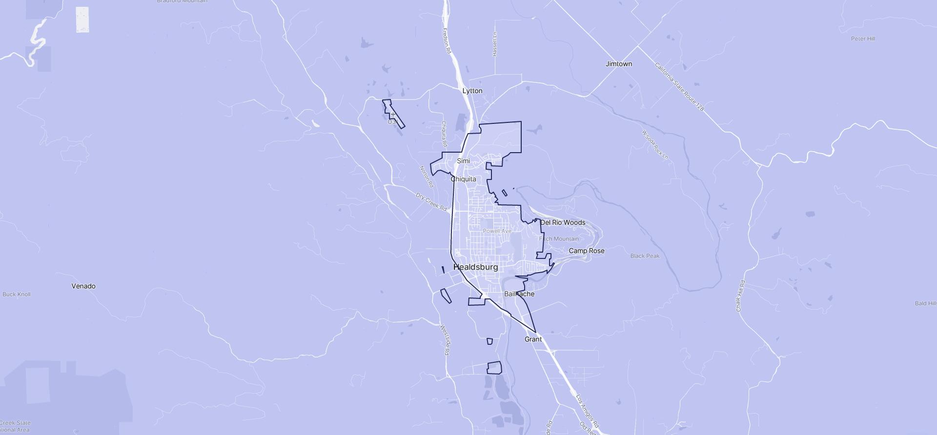 Image of Healdsburg boundaries on a map.