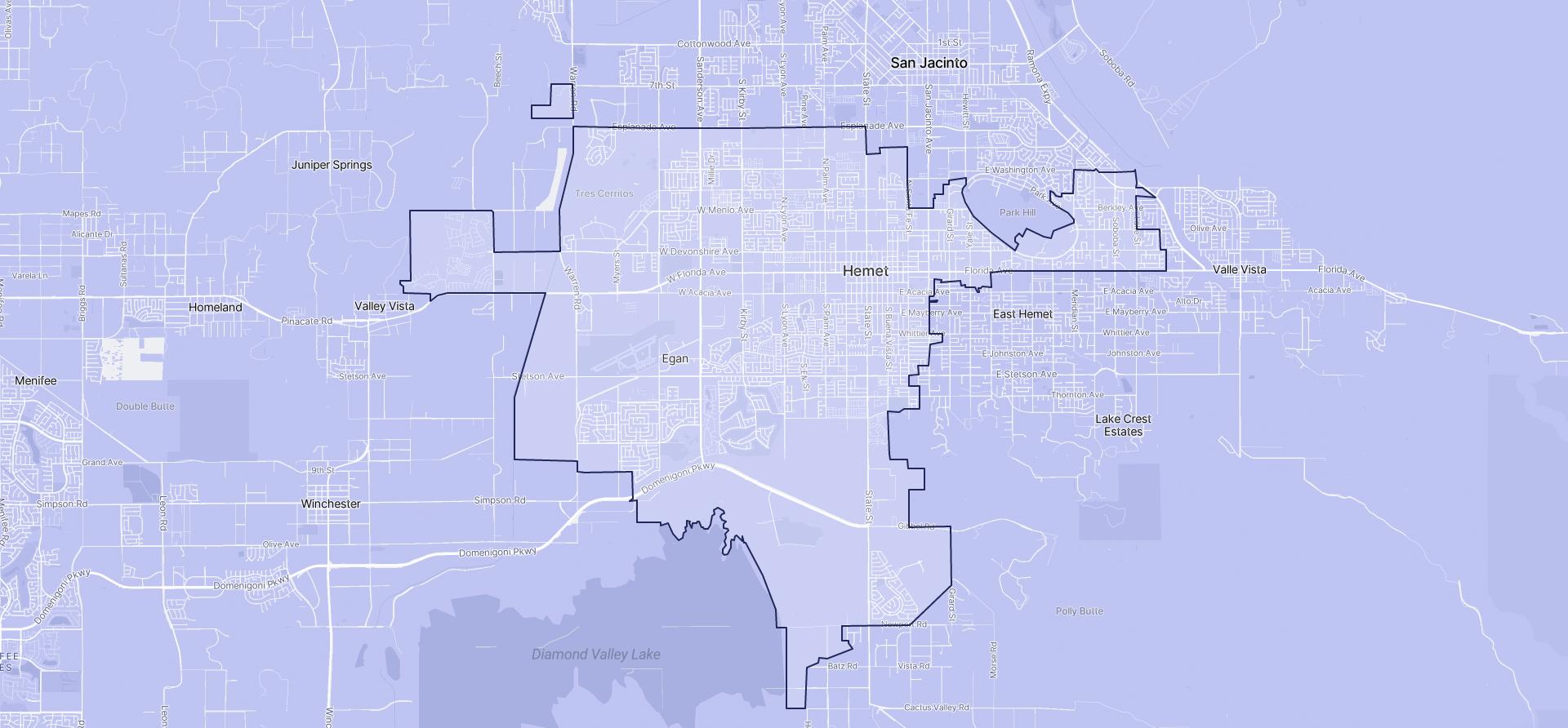 Image of Hemet boundaries on a map.