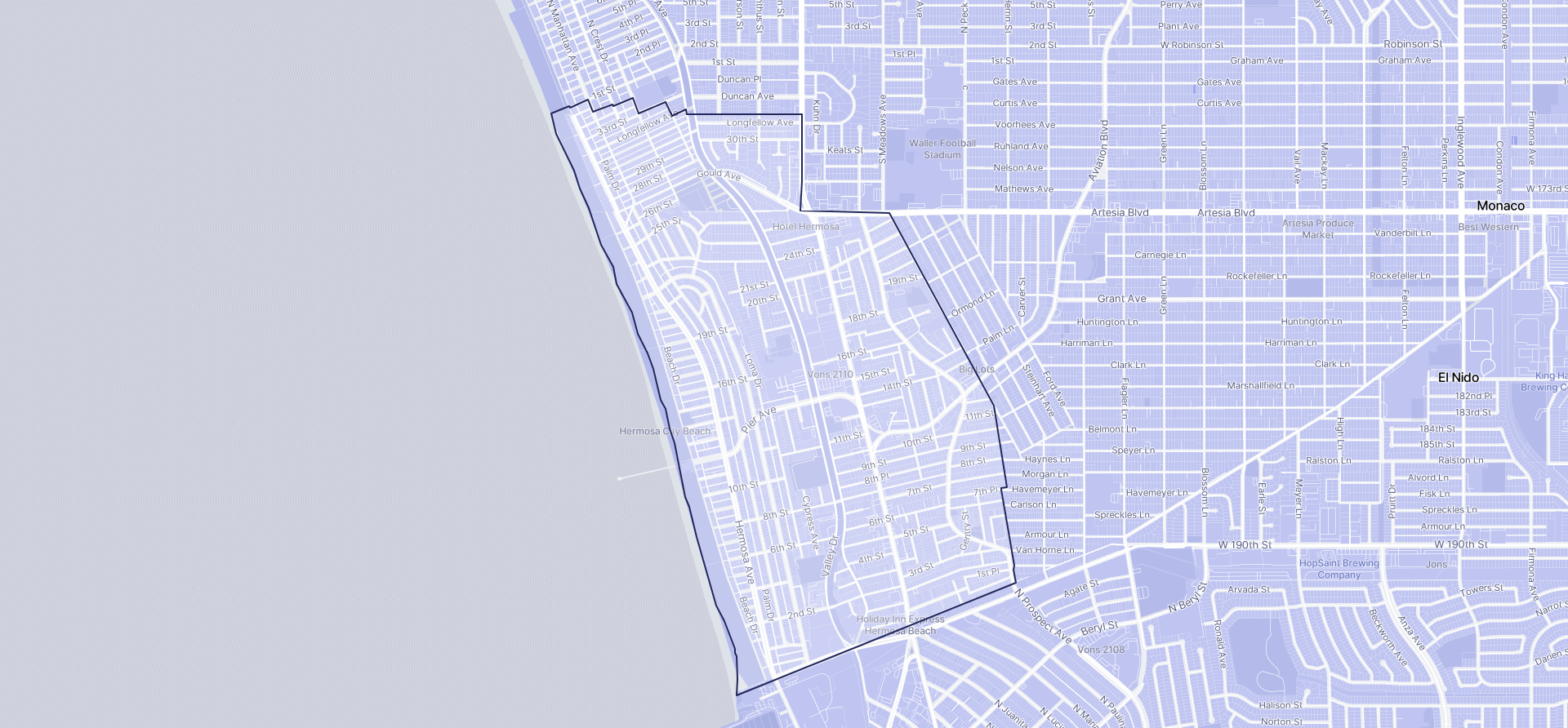 Image of Hermosa Beach boundaries on a map.