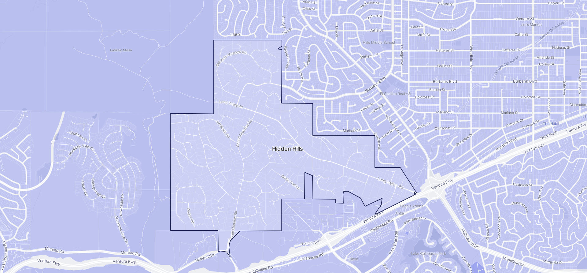 Image of Hidden Hills boundaries on a map.