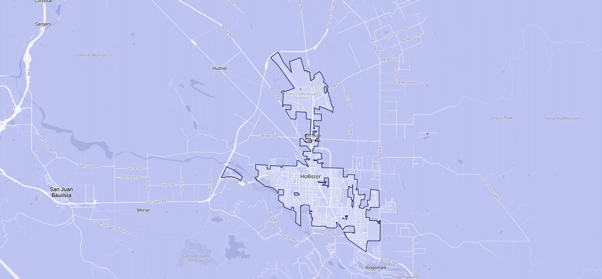 Image of Hollister boundaries on a map.