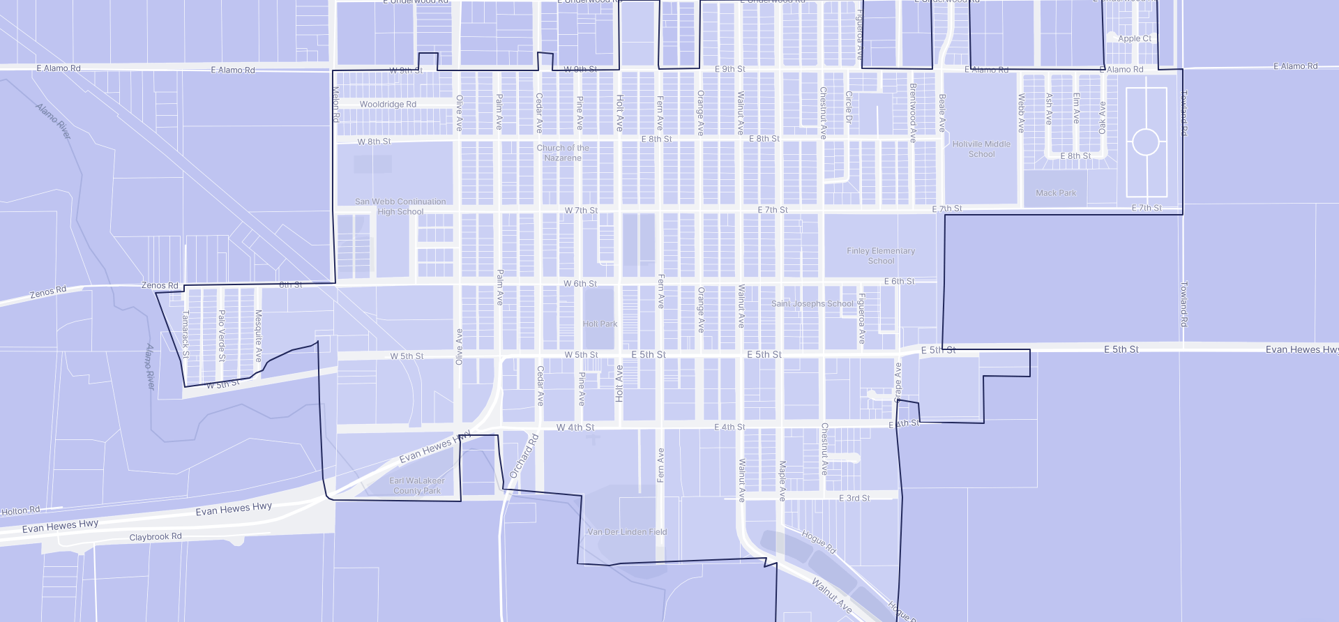 Image of Holtville boundaries on a map.