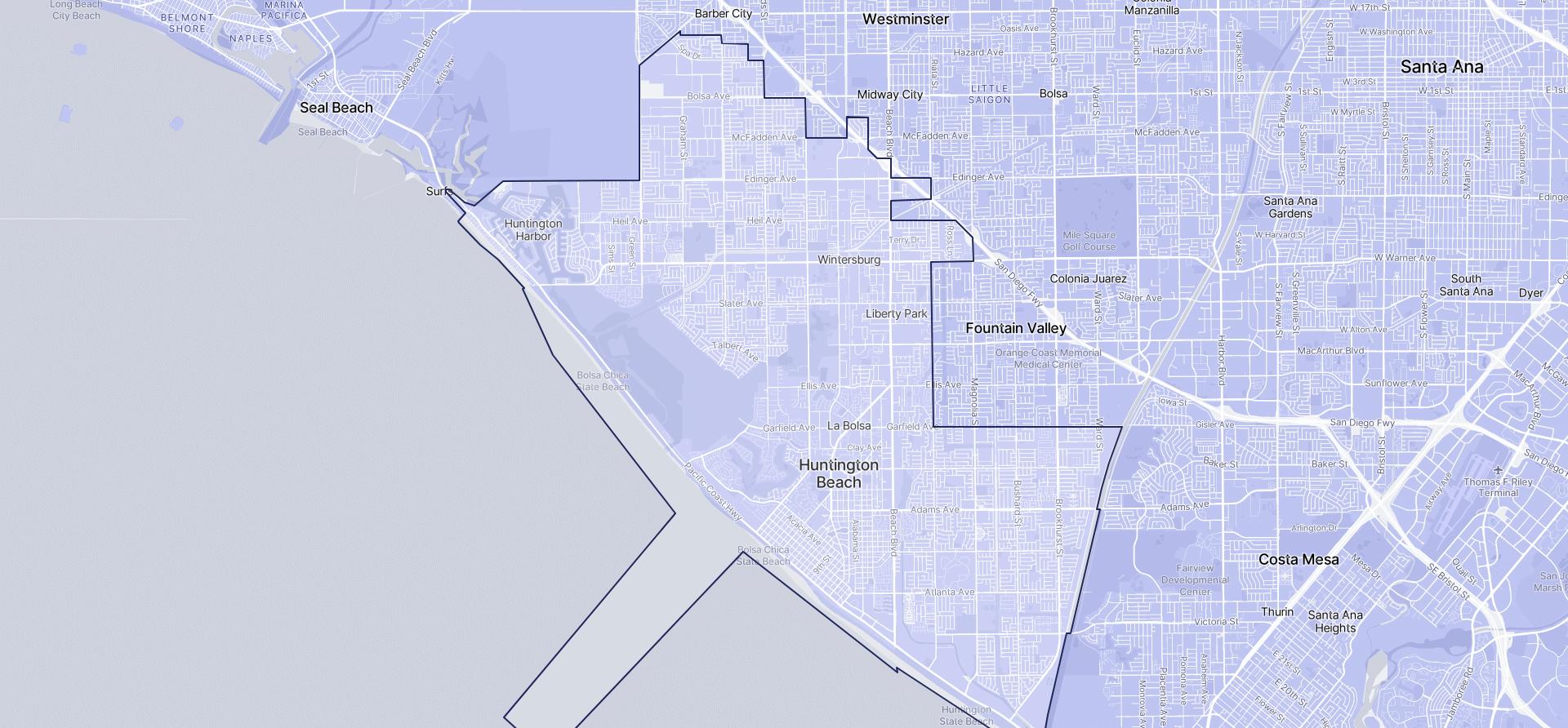Image of Huntington Beach boundaries on a map.