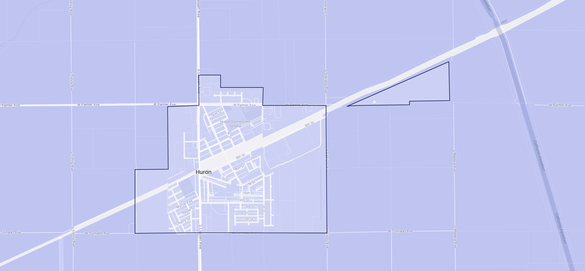 Image of Huron boundaries on a map.