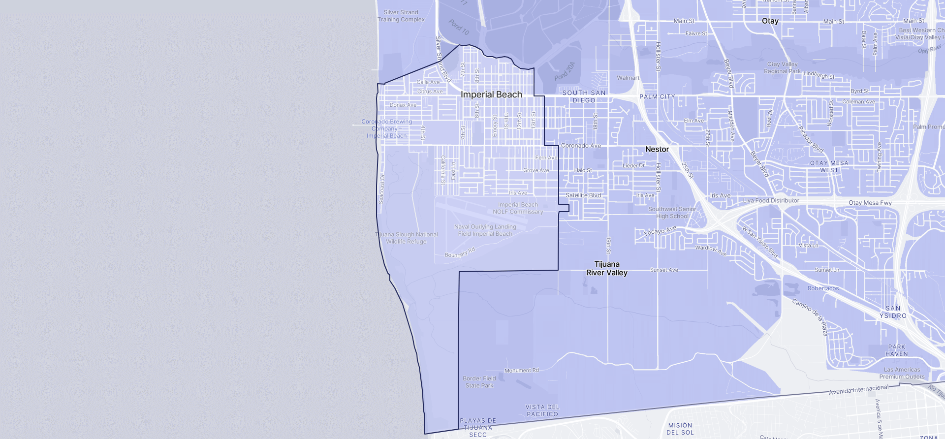 Image of Imperial Beach boundaries on a map.