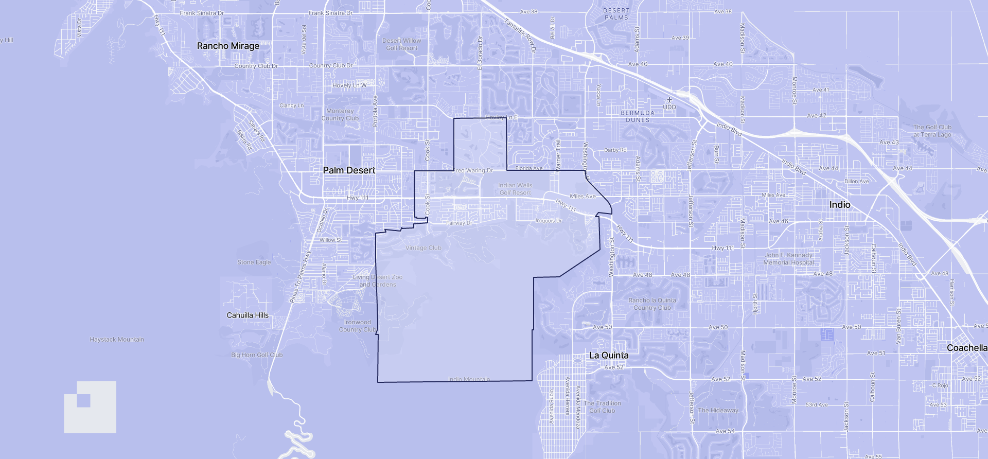 Image of Indian Wells boundaries on a map.