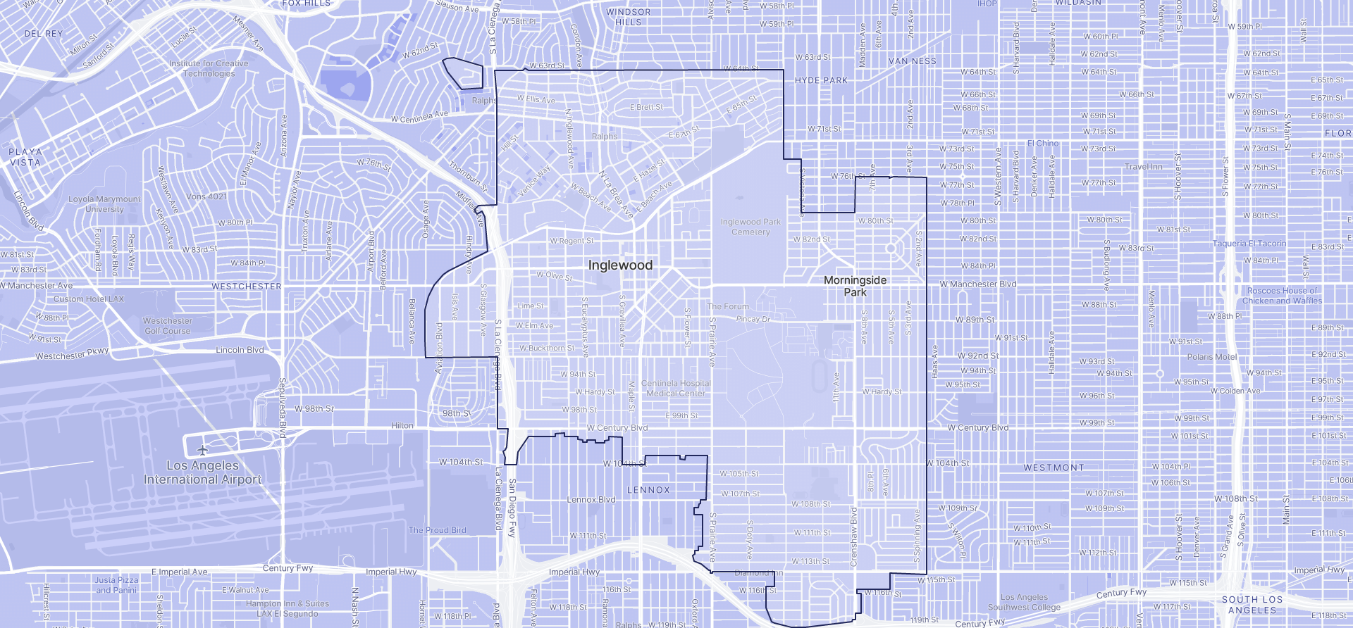 Image of Inglewood boundaries on a map.
