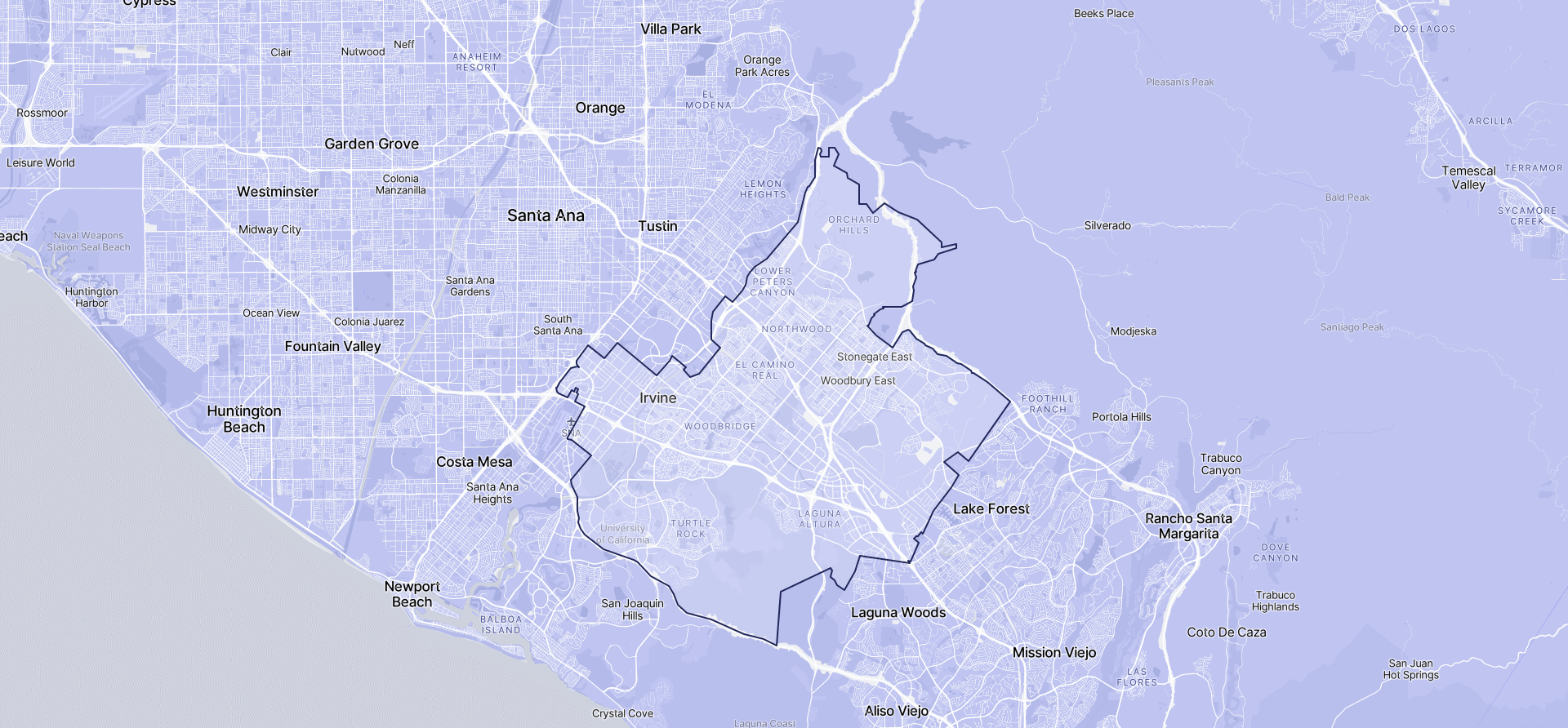 Image of Irvine boundaries on a map.