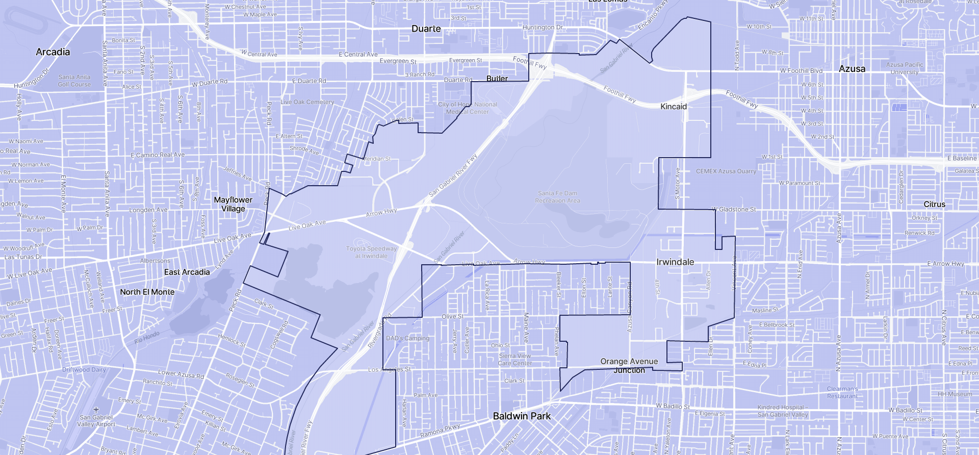 Image of Irwindale boundaries on a map.