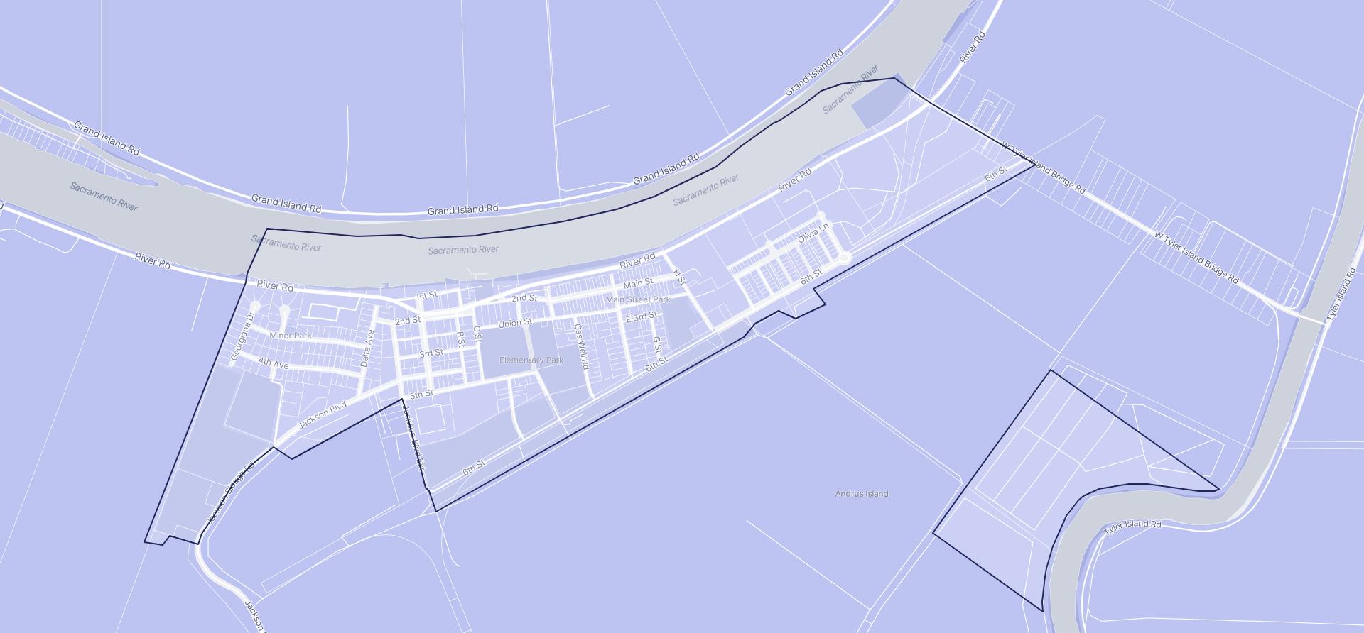 Image of Isleton boundaries on a map.