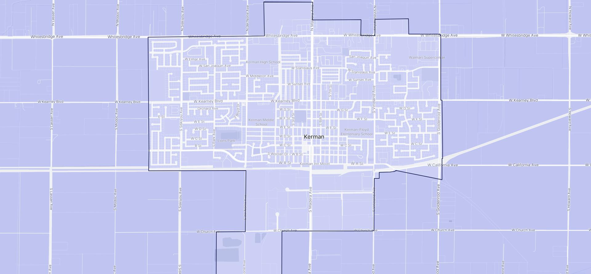 Image of Kerman boundaries on a map.