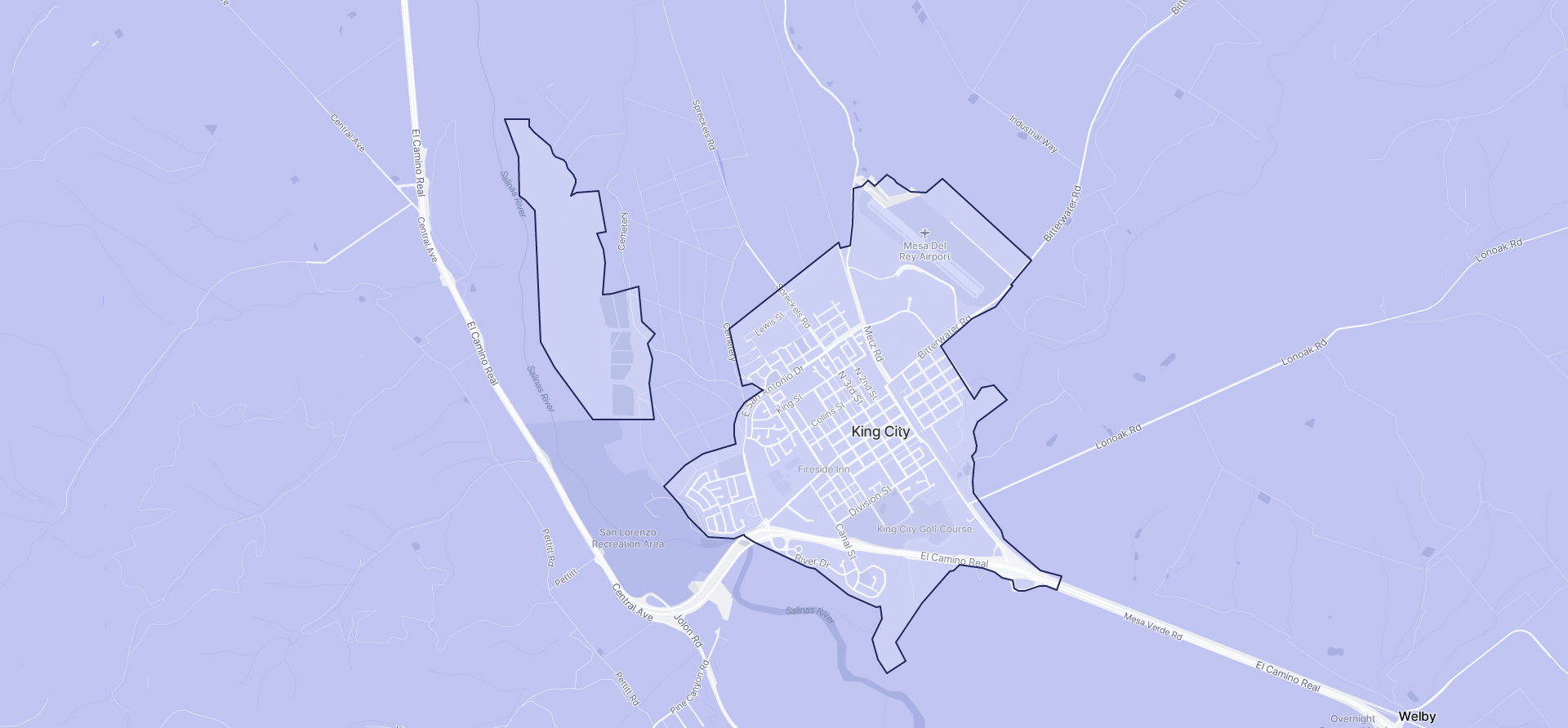 Image of King City boundaries on a map.