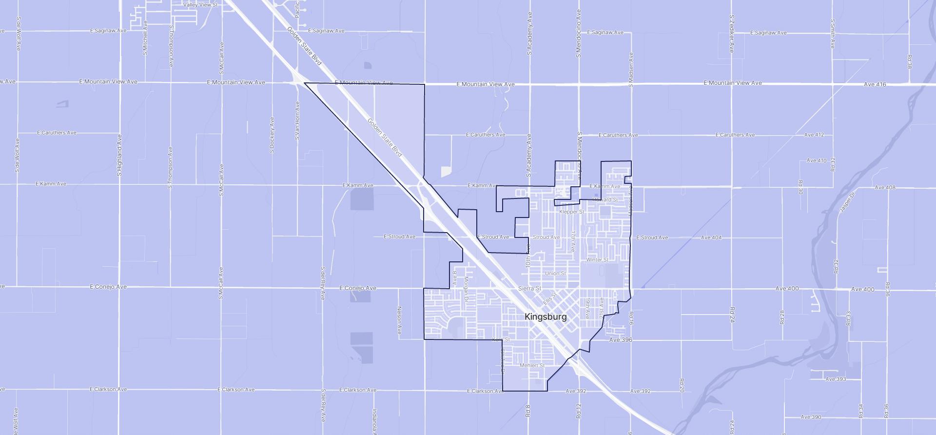 Image of Kingsburg boundaries on a map.