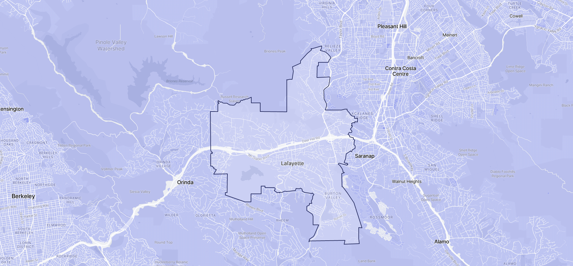 Image of Lafayette boundaries on a map.