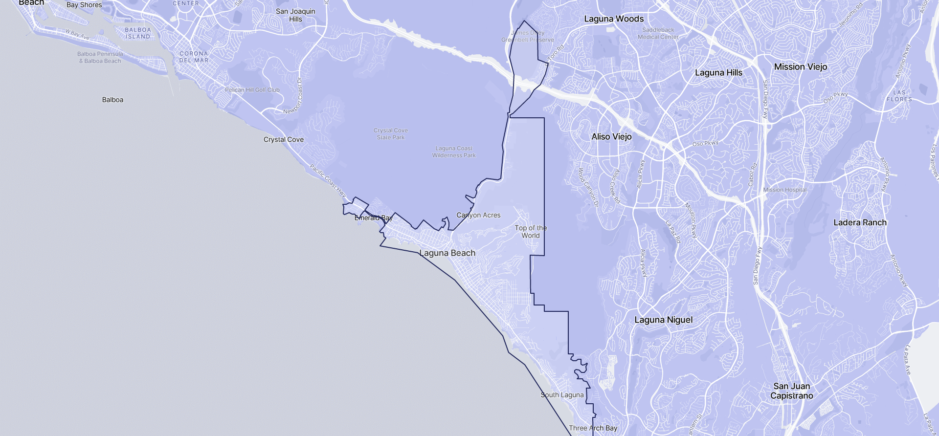 Image of Laguna Beach boundaries on a map.