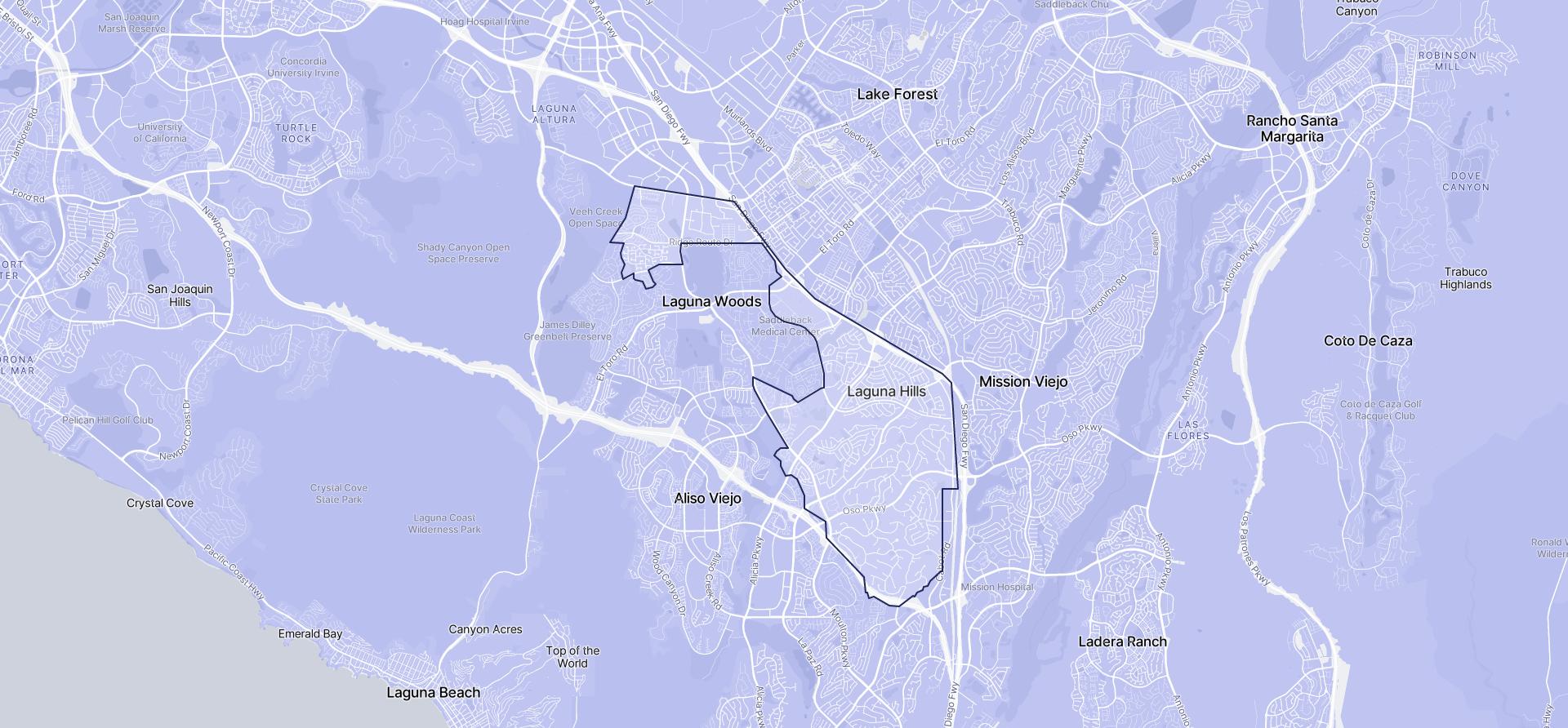 Image of Laguna Hills boundaries on a map.