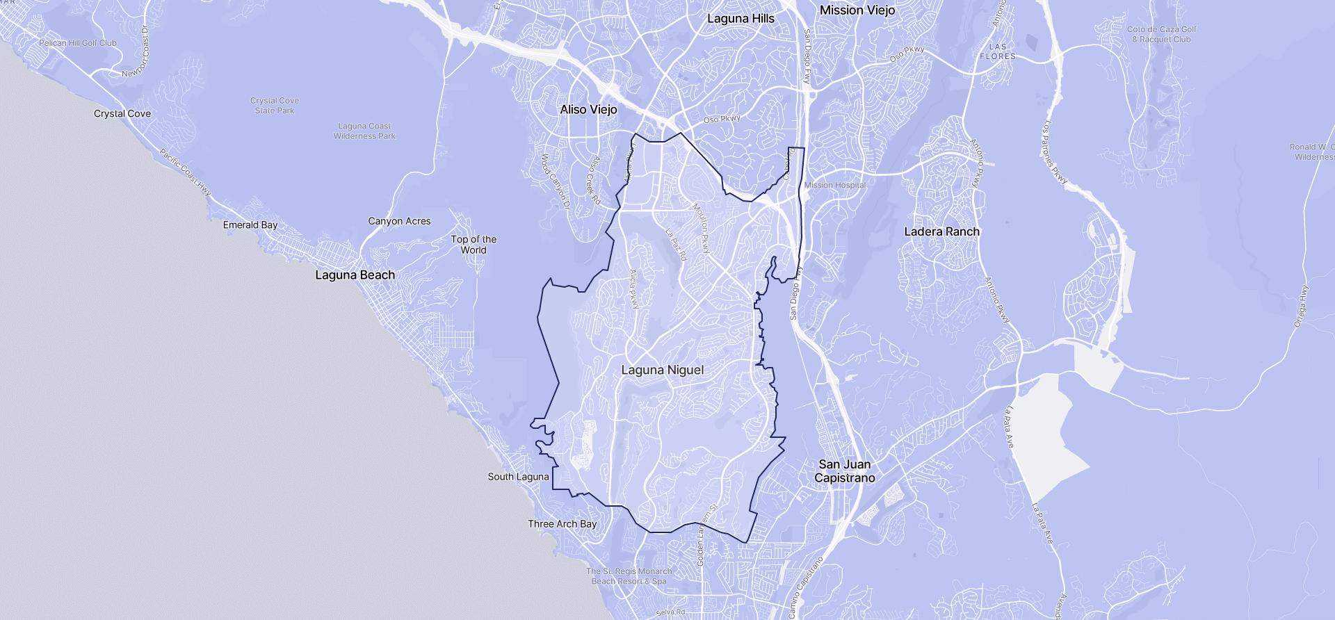 Image of Laguna Niguel boundaries on a map.