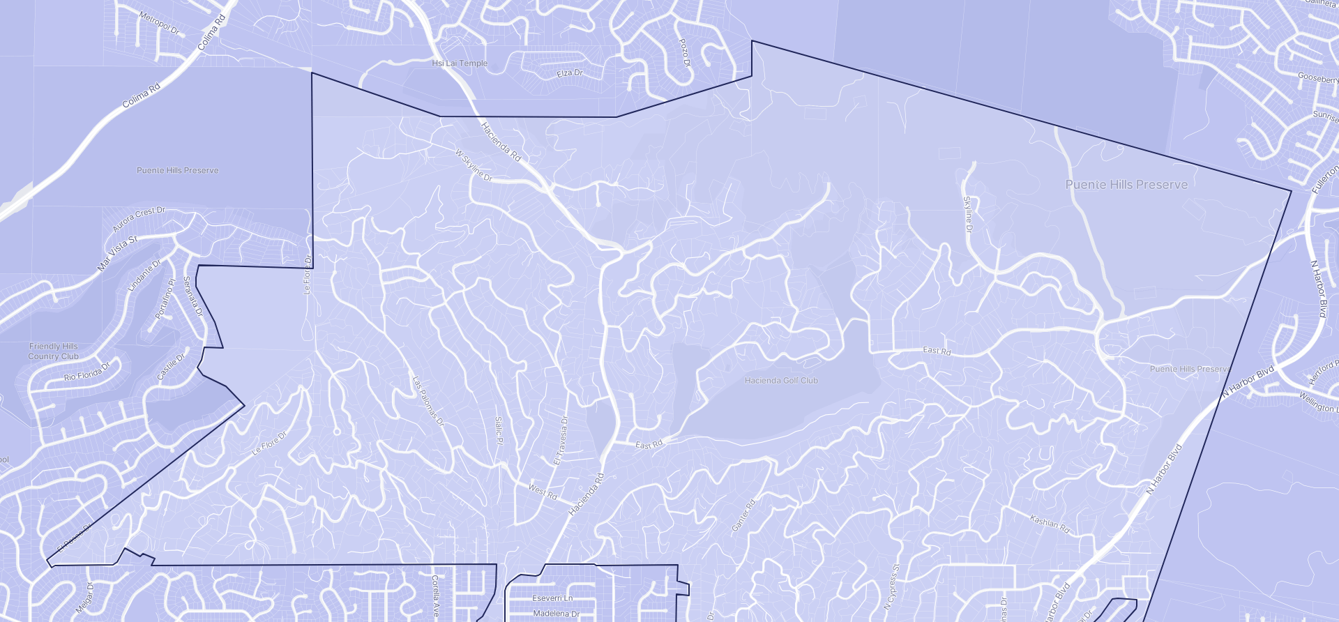 Image of La Habra Heights boundaries on a map.