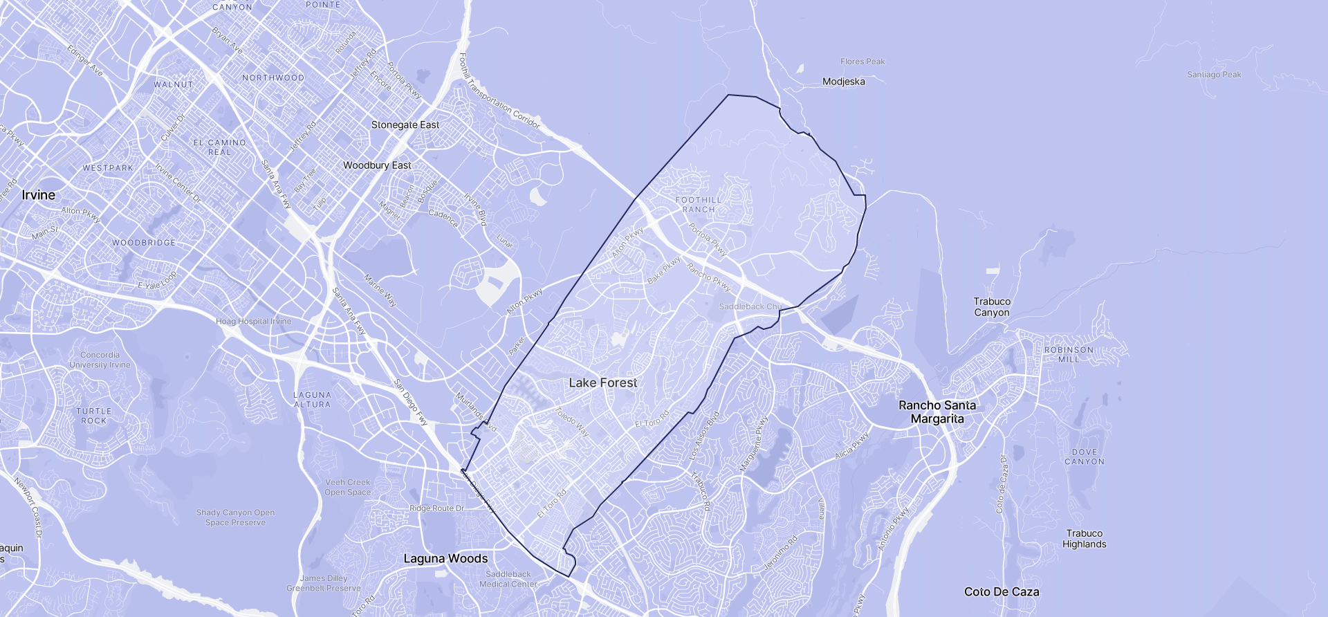 Image of Lake Forest boundaries on a map.