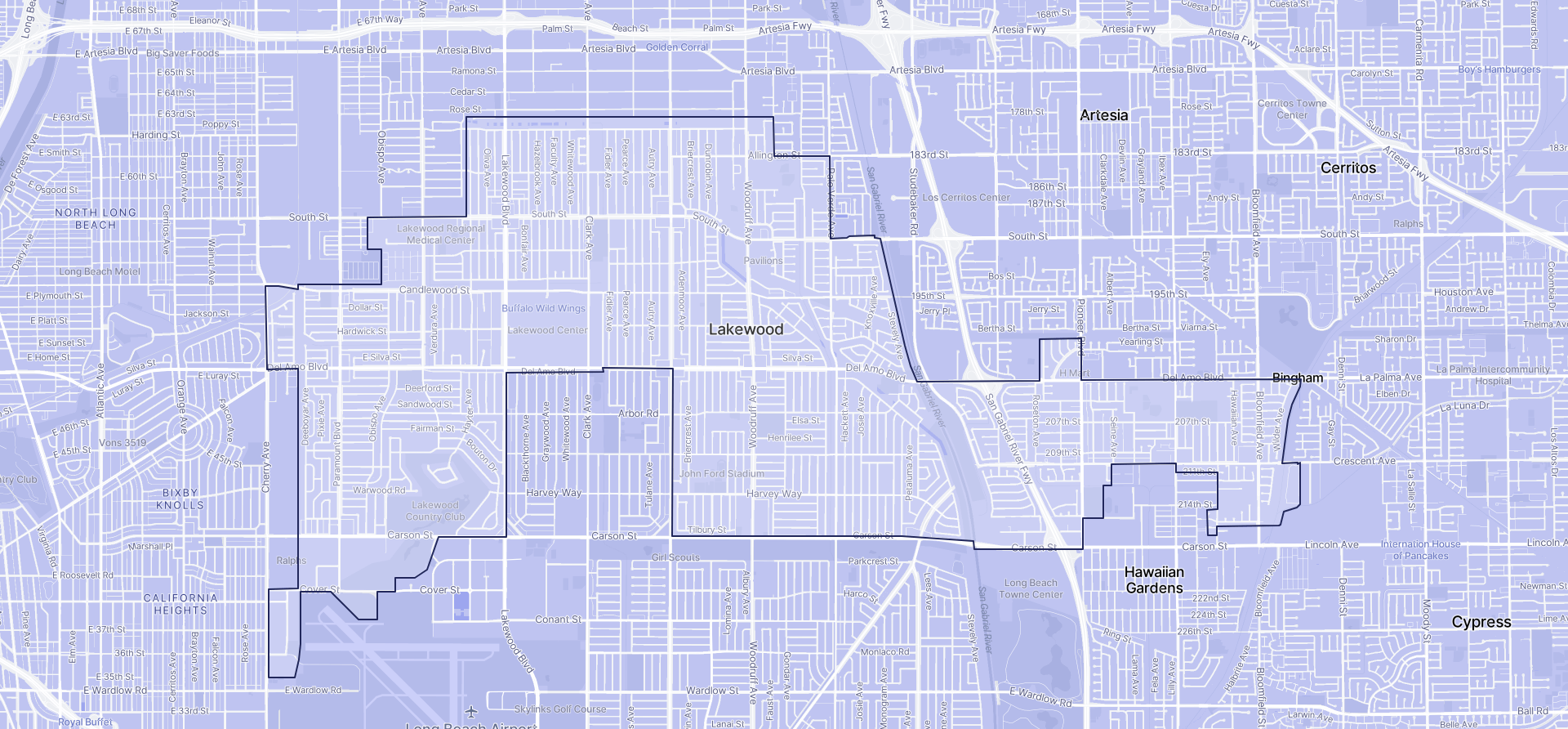 Image of Lakewood boundaries on a map.