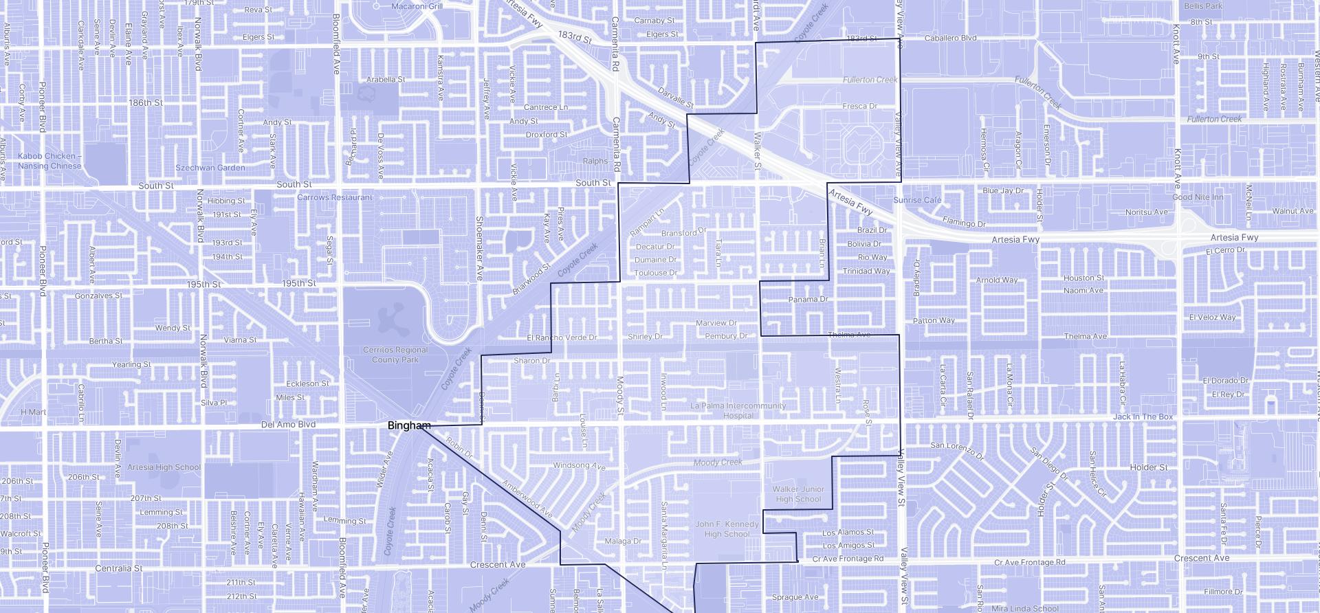 Image of La Palma boundaries on a map.