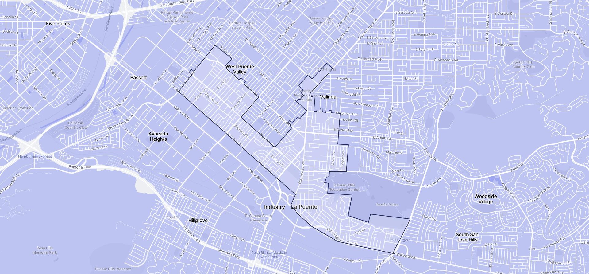 Image of La Puente boundaries on a map.