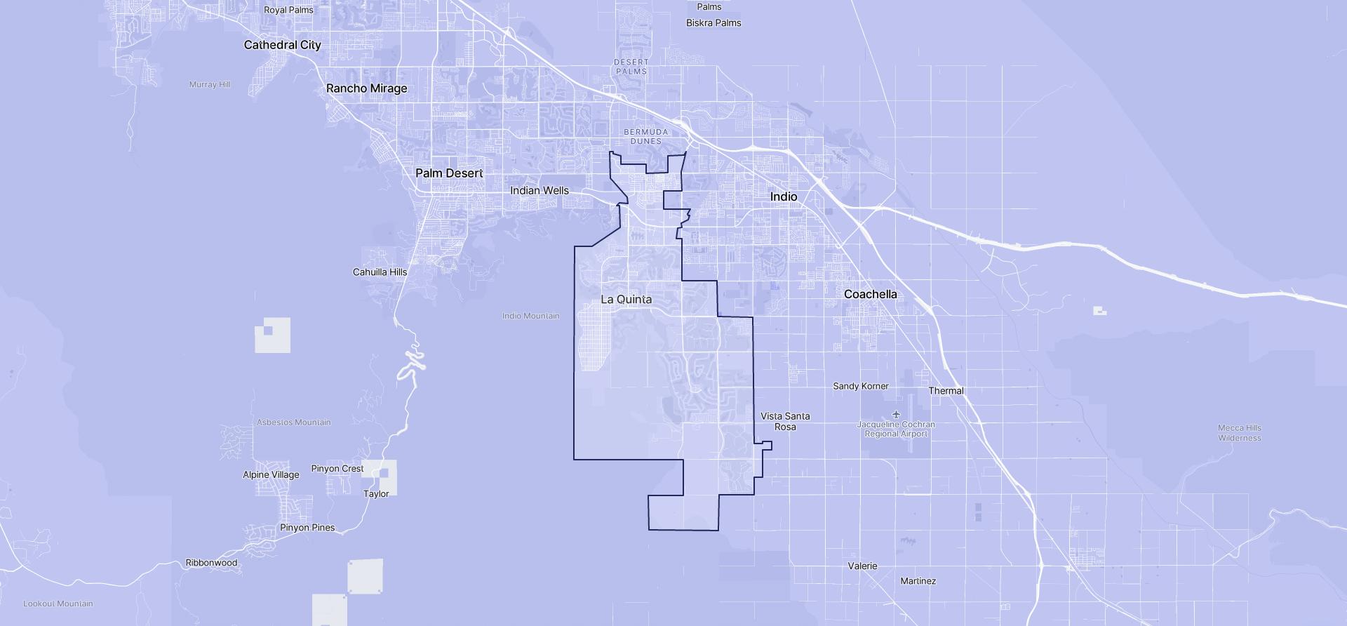 Image of La Quinta boundaries on a map.