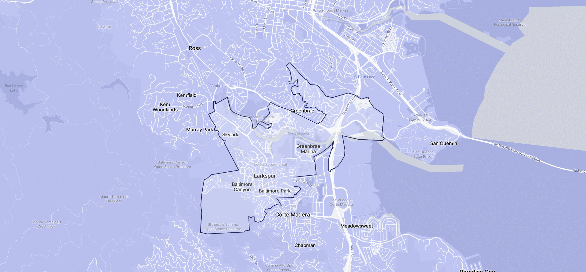Image of Larkspur boundaries on a map.