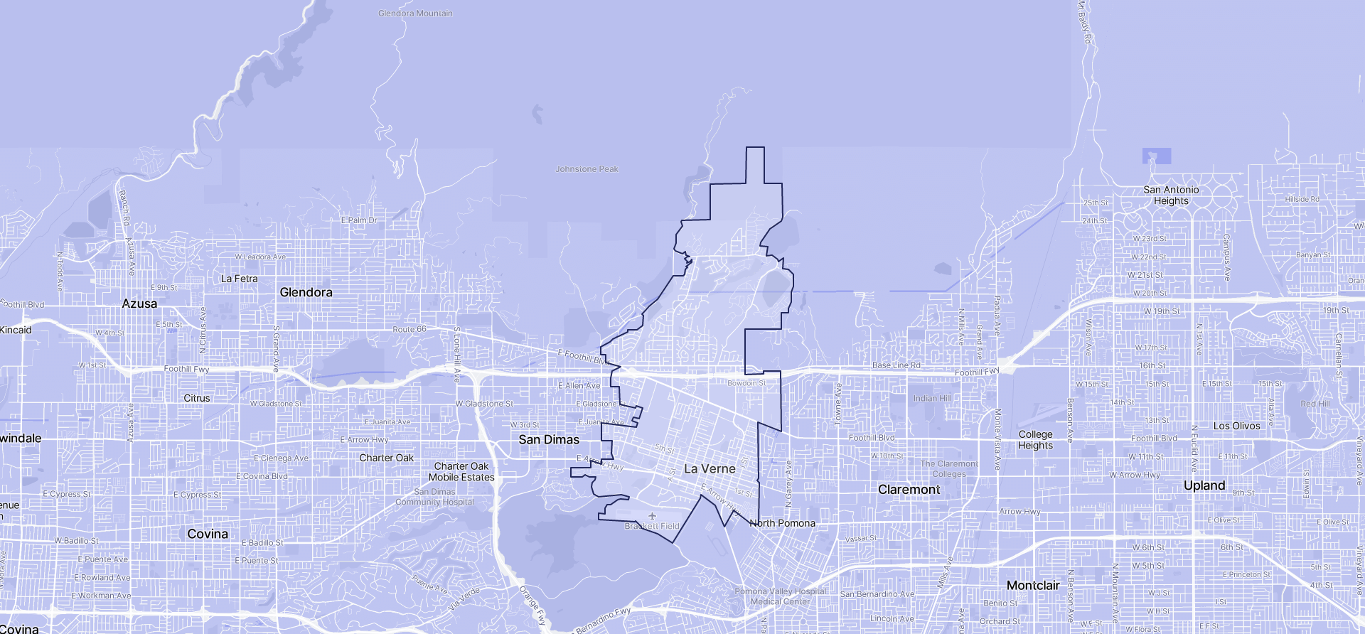 Image of La Verne boundaries on a map.