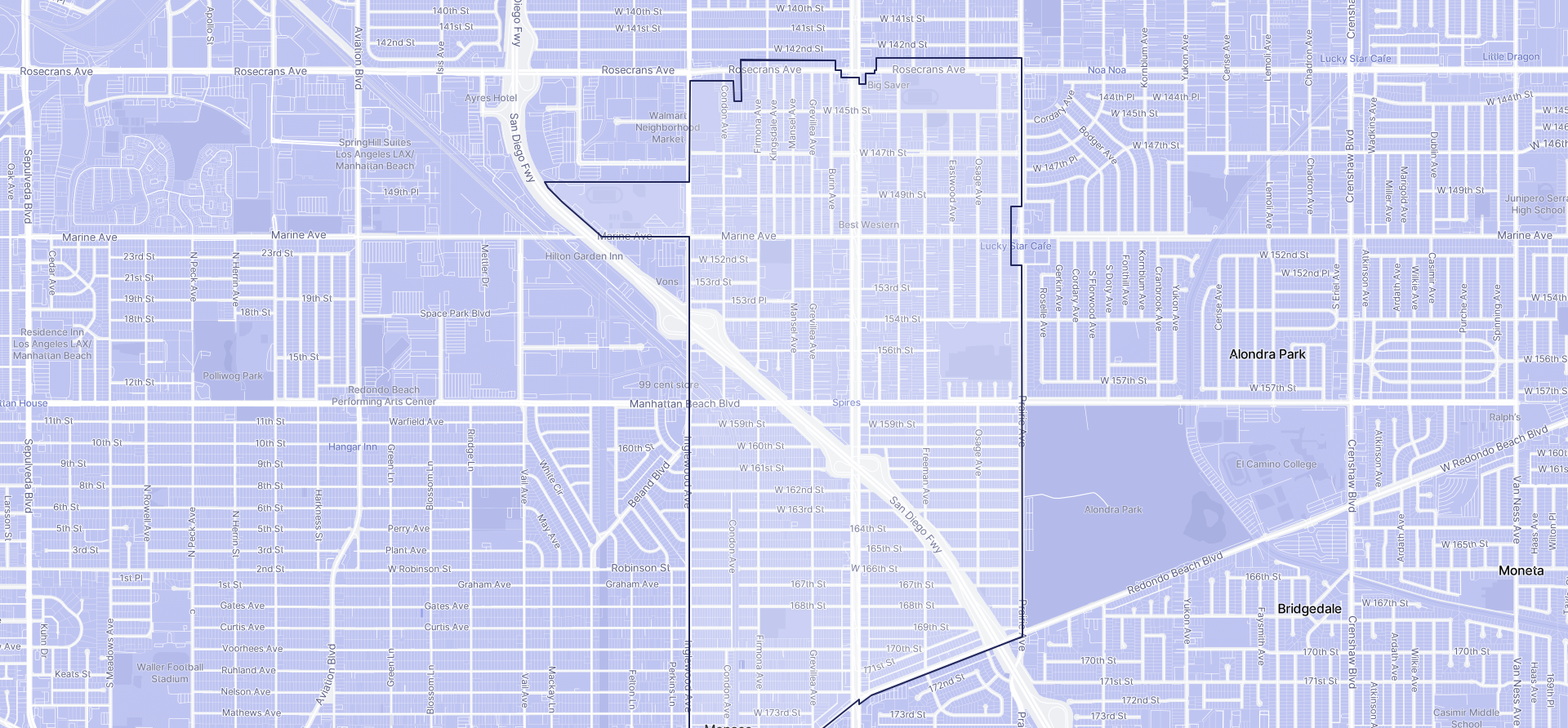 Image of Lawndale boundaries on a map.