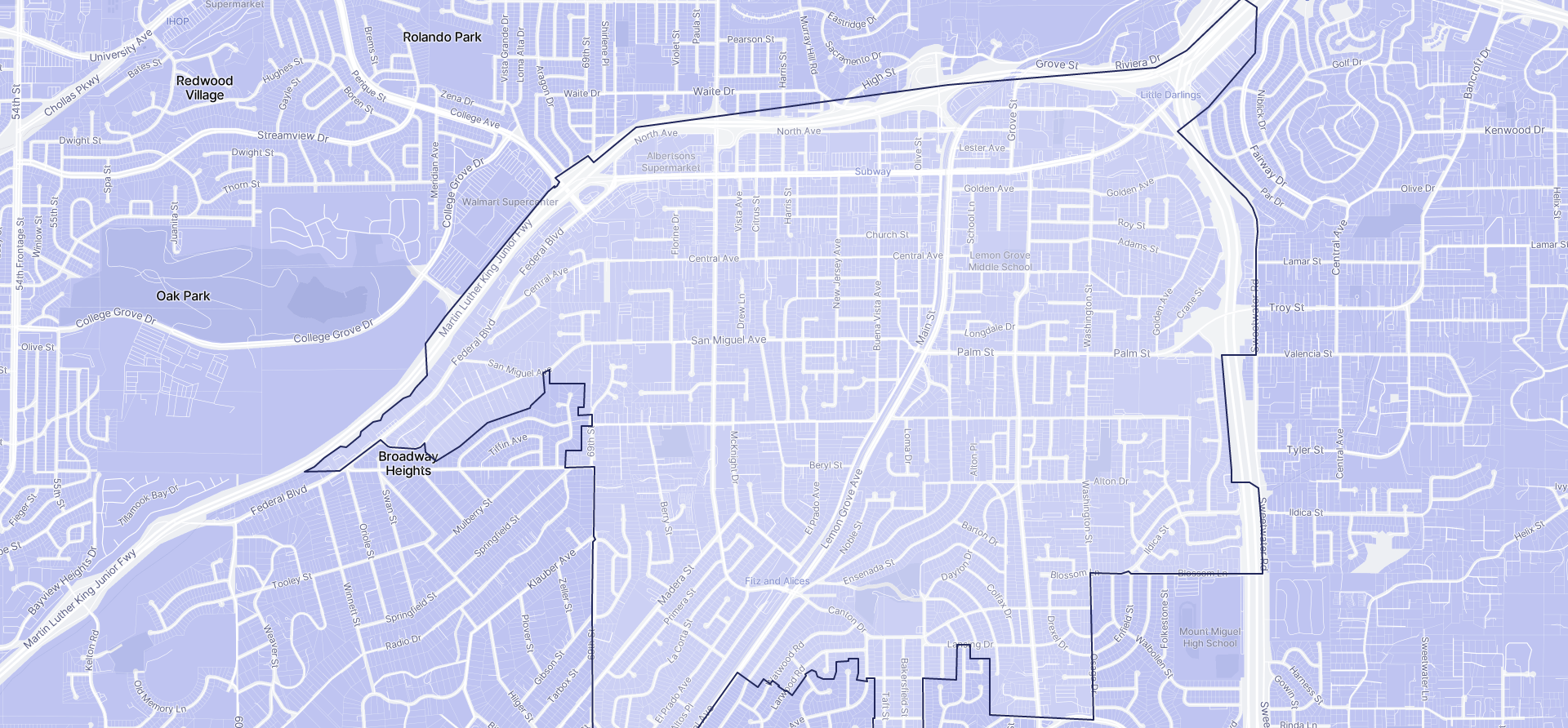 Image of Lemon Grove boundaries on a map.