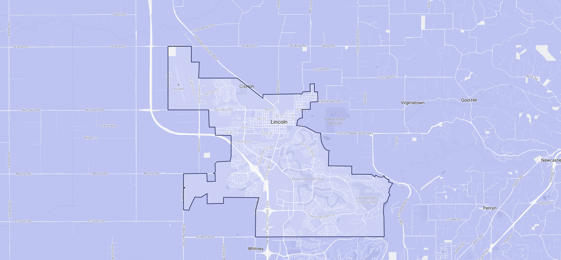 Image of Lincoln boundaries on a map.
