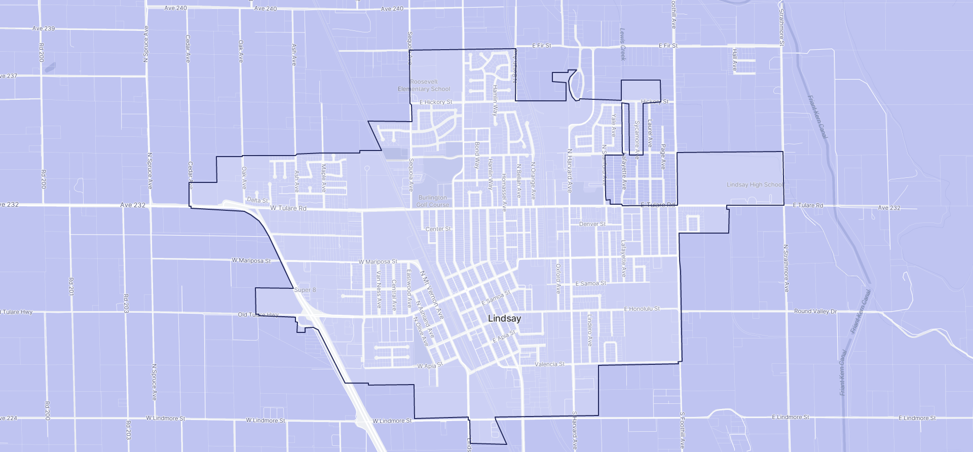 Image of Lindsay boundaries on a map.