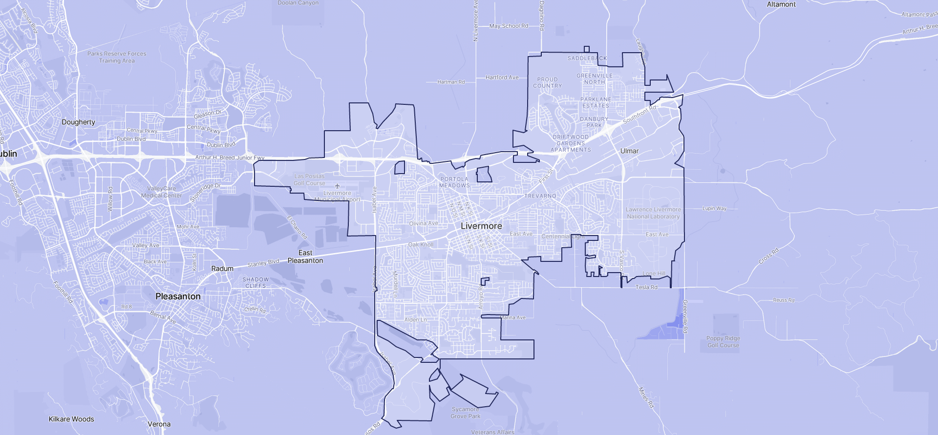 Image of Livermore boundaries on a map.
