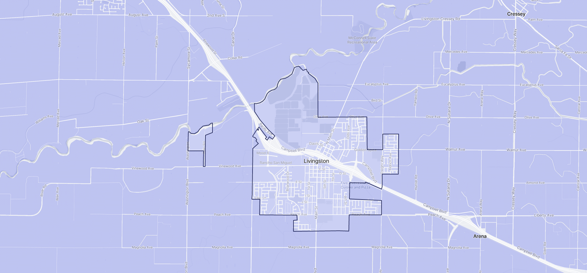 Image of Livingston boundaries on a map.