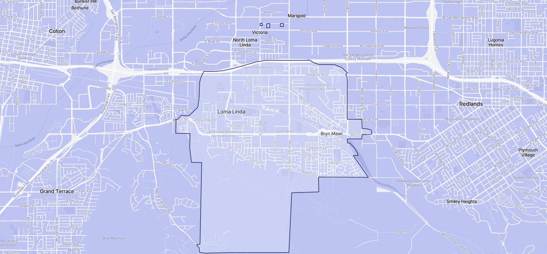 Image of Loma Linda boundaries on a map.