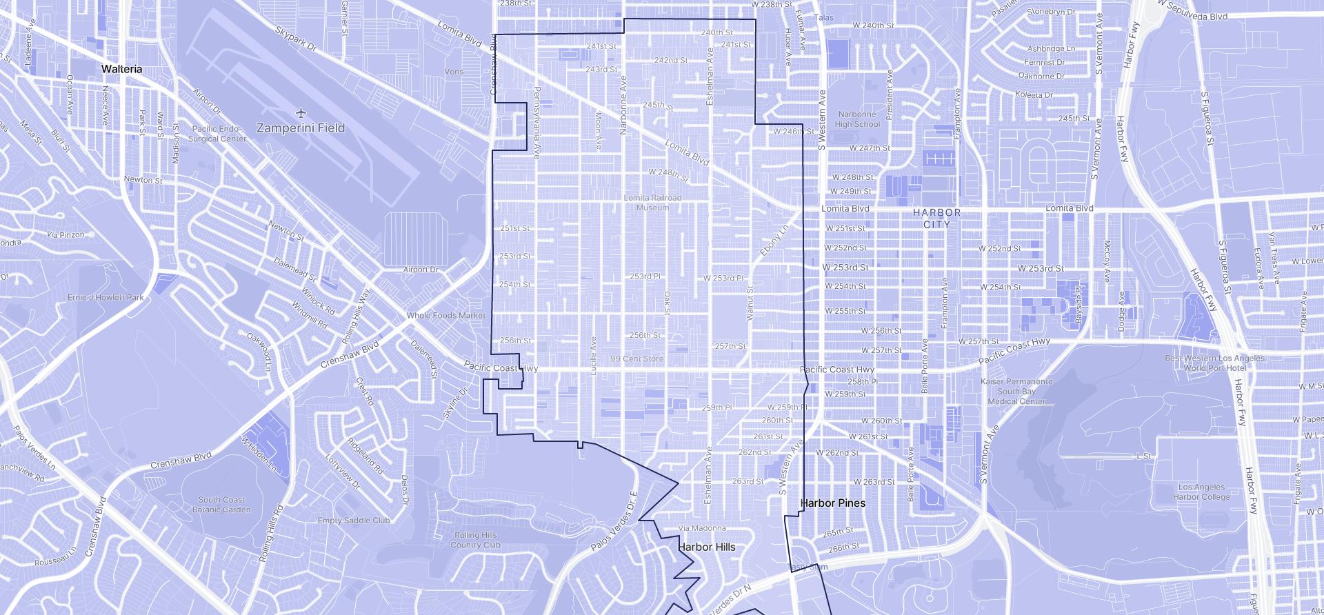 Image of Lomita boundaries on a map.