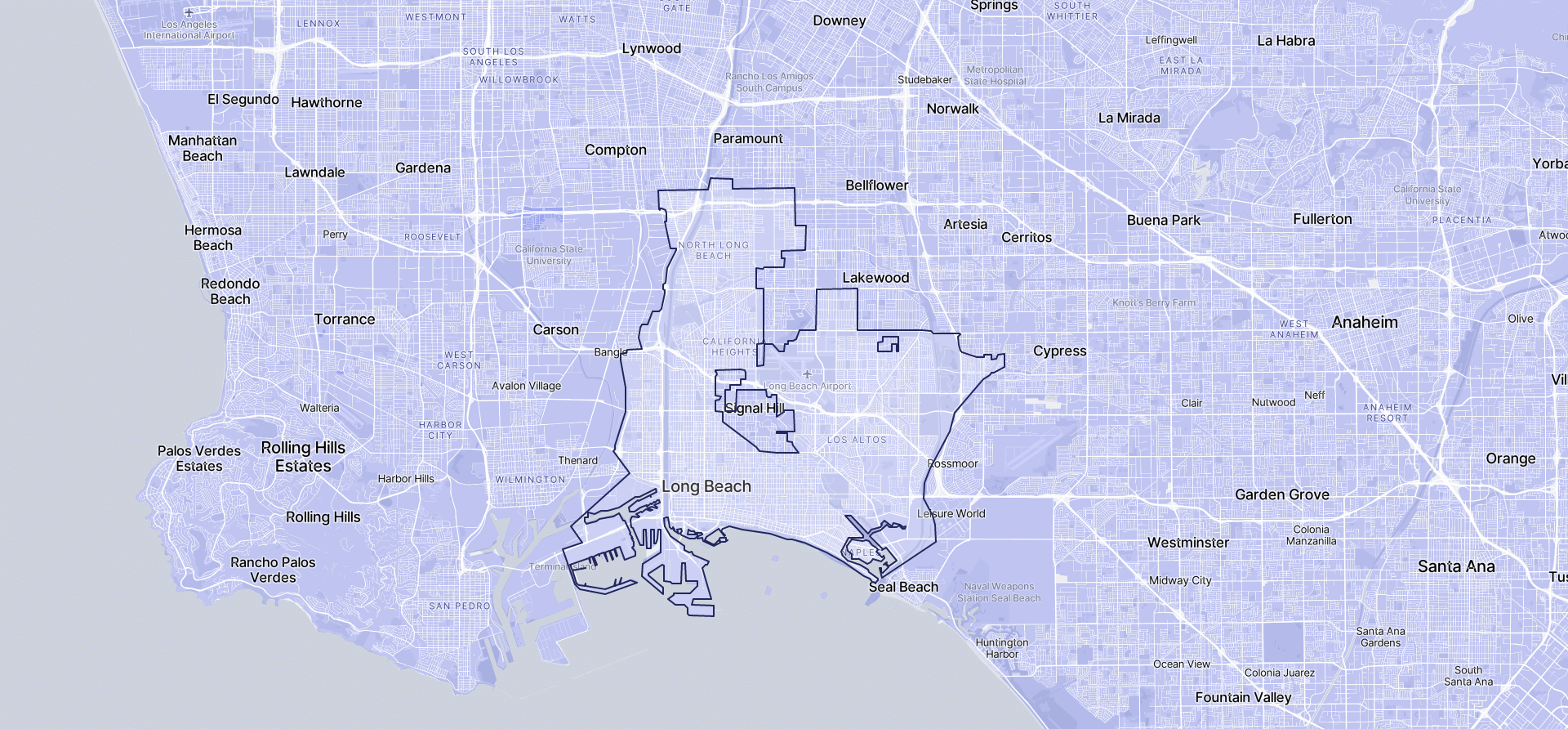 Image of Long Beach boundaries on a map.
