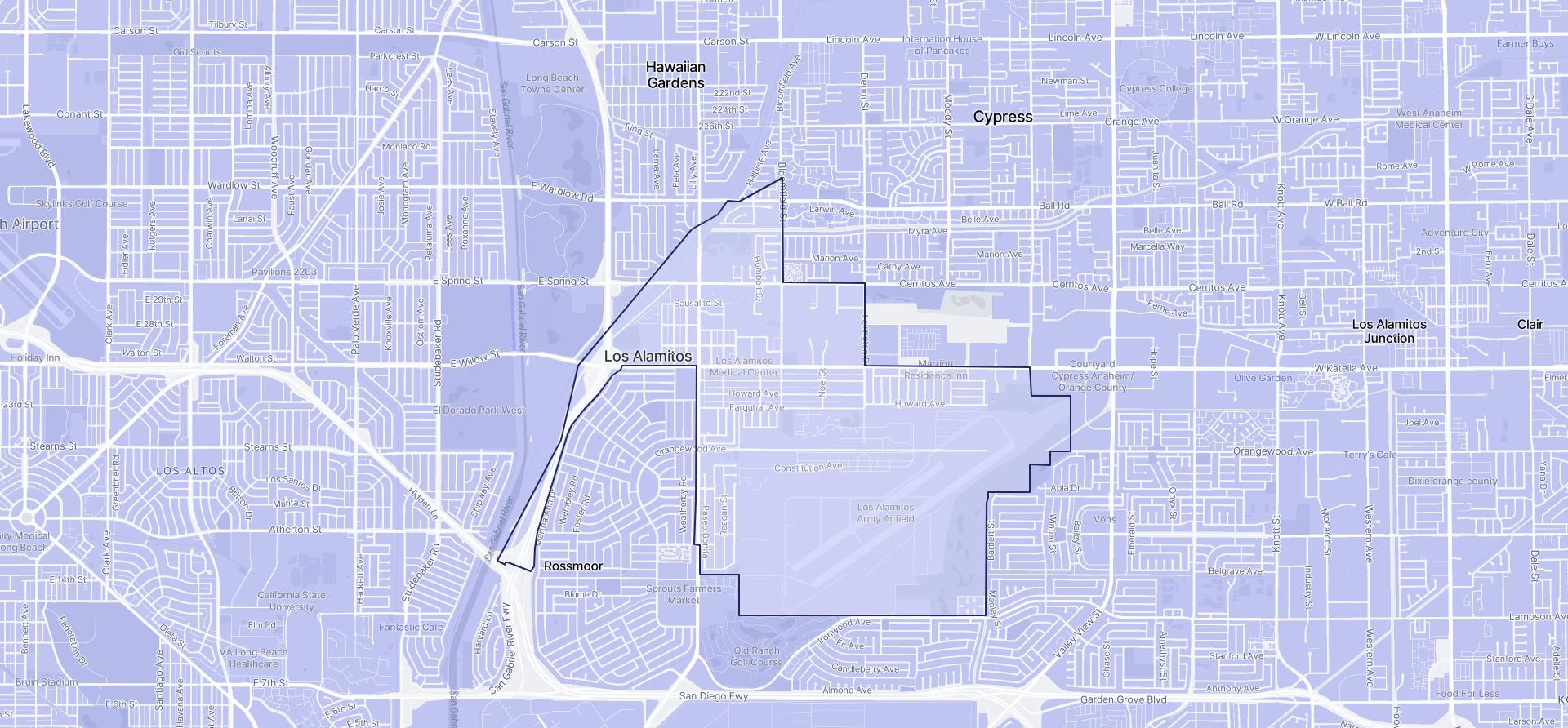 Image of Los Alamitos boundaries on a map.