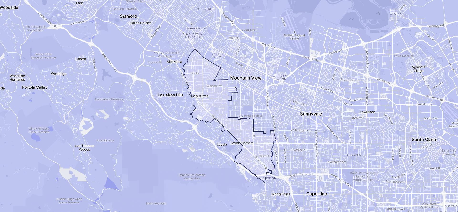 Image of Los Altos boundaries on a map.